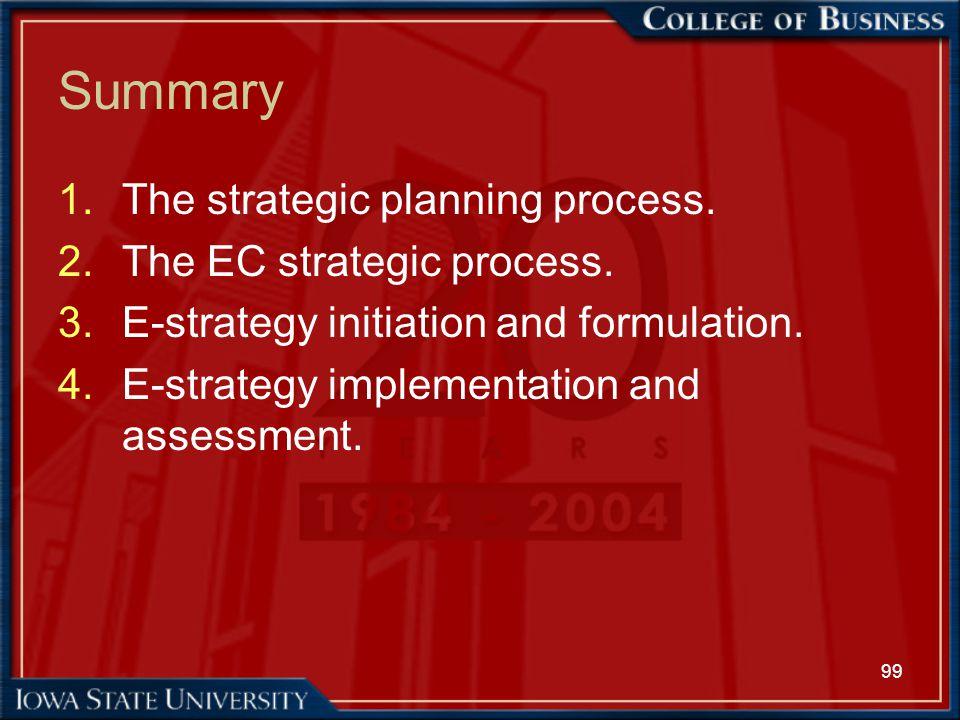 99 Summary 1.The strategic planning process. 2.The EC strategic process. 3.E-strategy initiation and formulation. 4.E-strategy implementation and asse