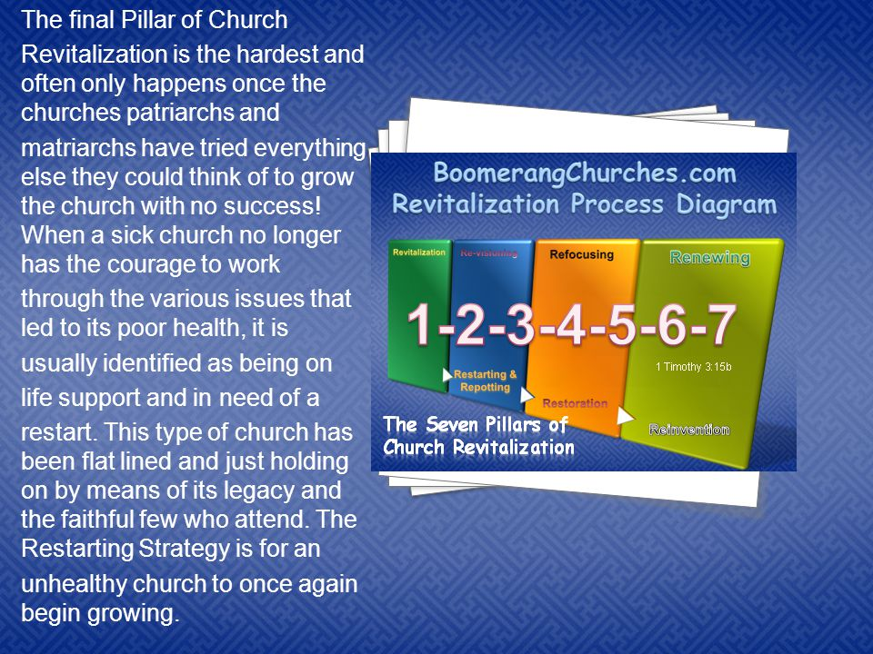 4 4 4 4 4 4 4 The final Pillar of Church Revitalization is the hardest and often only happens once the churches patriarchs and matriarchs have tried everything else they could think of to grow the church with no success.