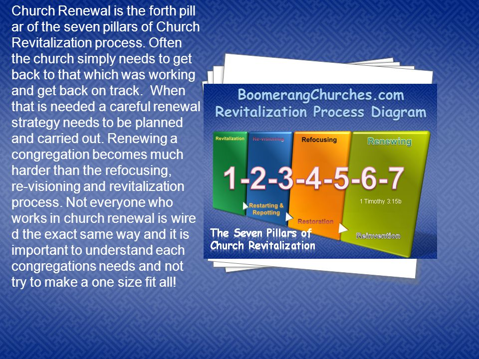 4 4 4 4 4 4 4 Church Renewal is the forth pill ar of the seven pillars of Church Revitalization process.