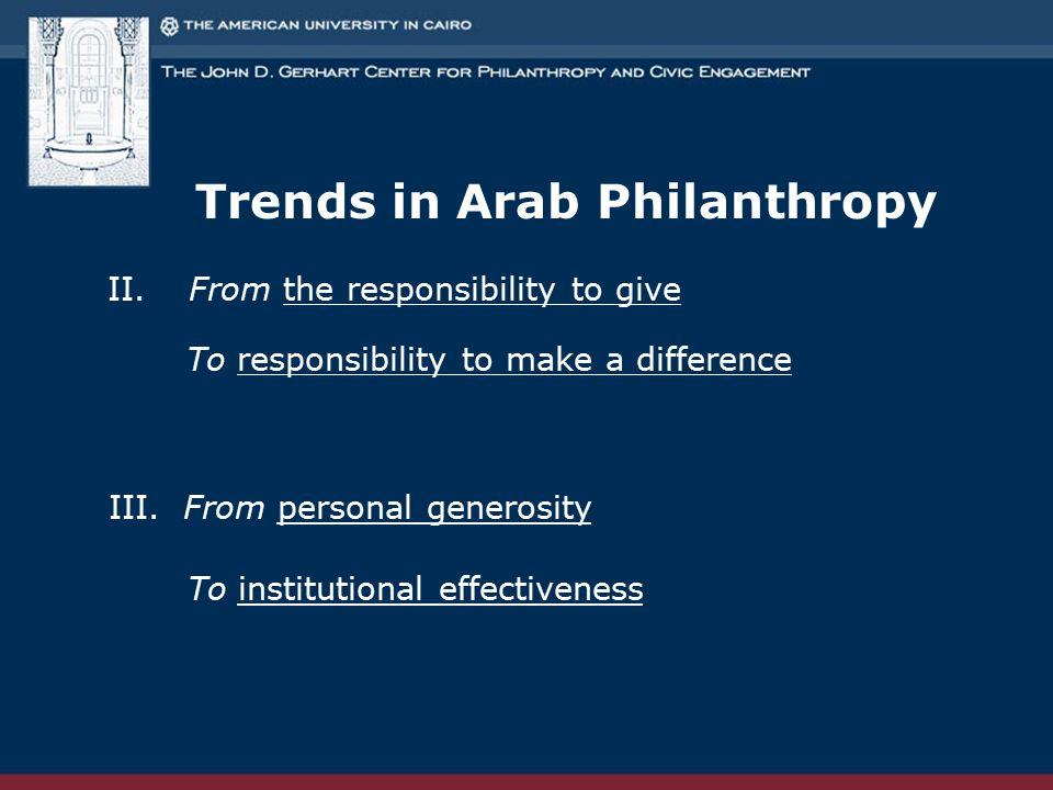 Trends in Arab Philanthropy II.