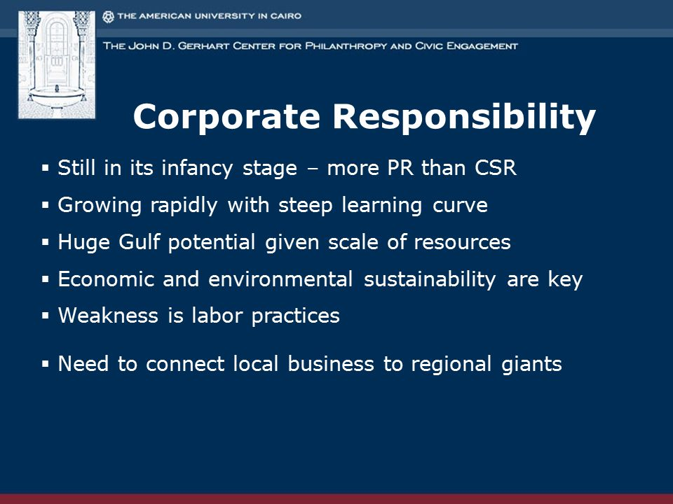 Corporate Responsibility  Still in its infancy stage – more PR than CSR  Growing rapidly with steep learning curve  Huge Gulf potential given scale