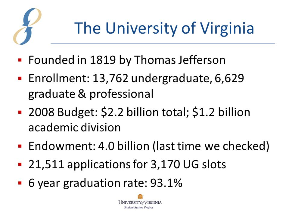 The University of Virginia  Founded in 1819 by Thomas Jefferson  Enrollment: 13,762 undergraduate, 6,629 graduate & professional  2008 Budget: $2.2 billion total; $1.2 billion academic division  Endowment: 4.0 billion (last time we checked)  21,511 applications for 3,170 UG slots  6 year graduation rate: 93.1%
