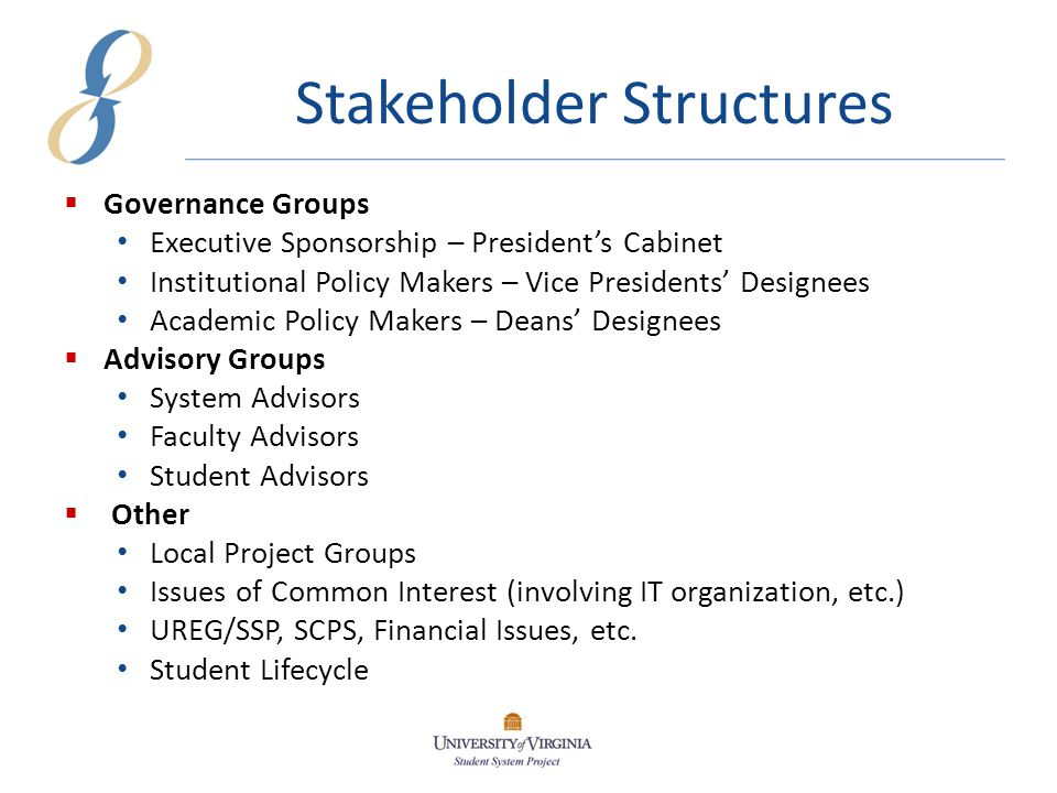 Stakeholder Structures  Governance Groups Executive Sponsorship – President's Cabinet Institutional Policy Makers – Vice Presidents' Designees Academic Policy Makers – Deans' Designees  Advisory Groups System Advisors Faculty Advisors Student Advisors  Other Local Project Groups Issues of Common Interest (involving IT organization, etc.) UREG/SSP, SCPS, Financial Issues, etc.