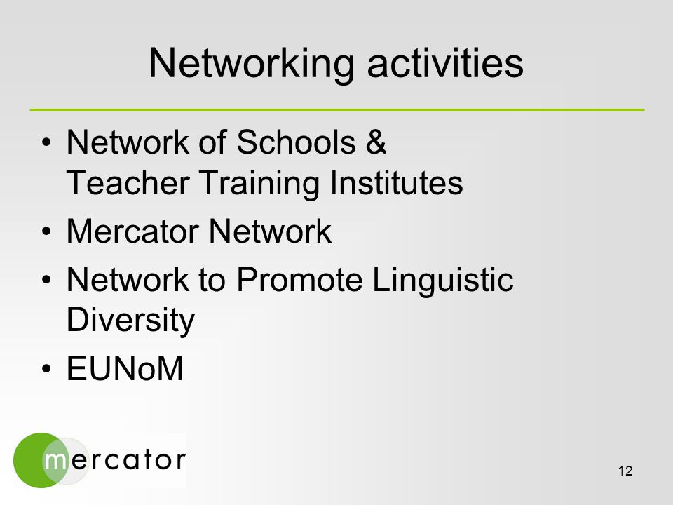 12 Networking activities Network of Schools & Teacher Training Institutes Mercator Network Network to Promote Linguistic Diversity EUNoM