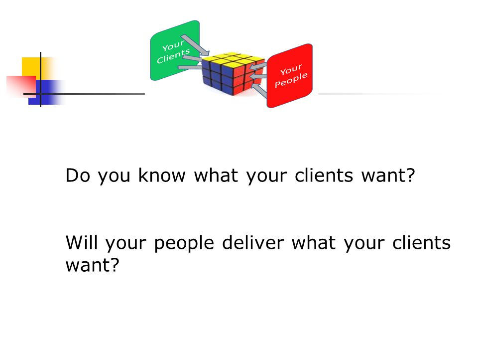 Do you know what your clients want? Will your people deliver what your clients want?