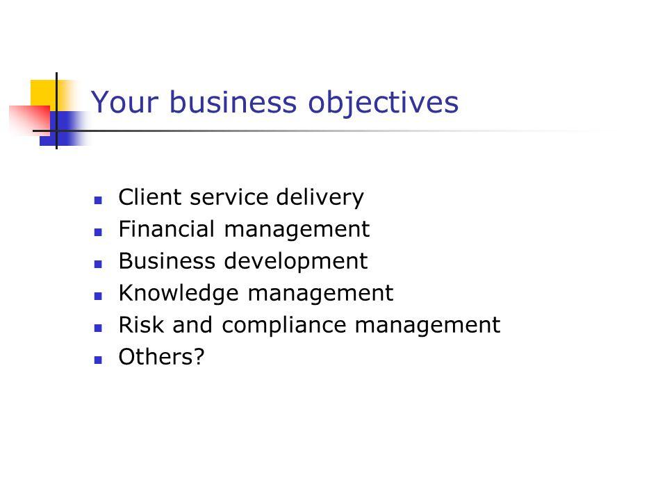 Your business objectives Client service delivery Financial management Business development Knowledge management Risk and compliance management Others?