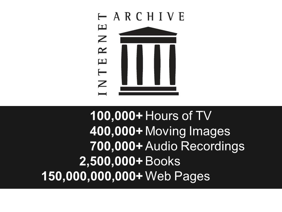 100,000+ 400,000+ 700,000+ 2,500,000+ 150,000,000,000+ Hours of TV Moving Images Audio Recordings Books Web Pages