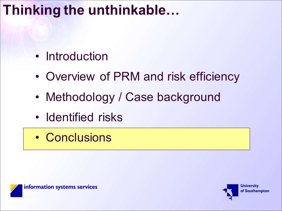 Thinking the unthinkable… Introduction Overview of PRM and risk efficiency Methodology / Case background Identified risks Conclusions