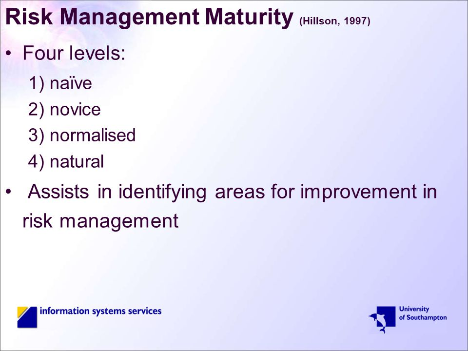 Risk Management Maturity (Hillson, 1997) Four levels: 1) naïve 2) novice 3) normalised 4) natural Assists in identifying areas for improvement in risk management