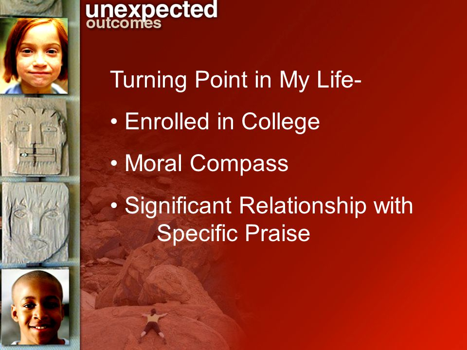 Turning Point in My Life- Enrolled in College Moral Compass Significant Relationship with Specific Praise
