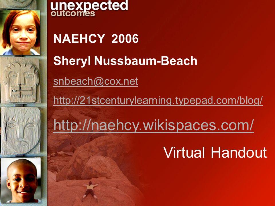 NAEHCY 2006 Sheryl Nussbaum-Beach snbeach@cox.net http://21stcenturylearning.typepad.com/blog/ http://naehcy.wikispaces.com/ Virtual Handout