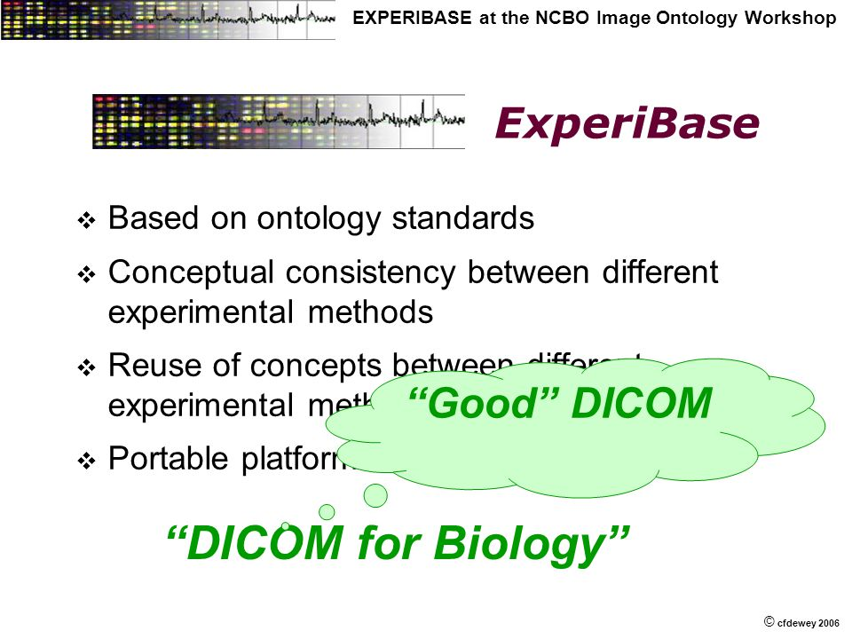 © © cfdewey 2006 EXPERIBASE at the NCBO Image Ontology Workshop ExperiBase  Based on ontology standards  Conceptual consistency between different experimental methods  Reuse of concepts between different experimental methods  Portable platform independent of OS DICOM for Biology Good DICOM