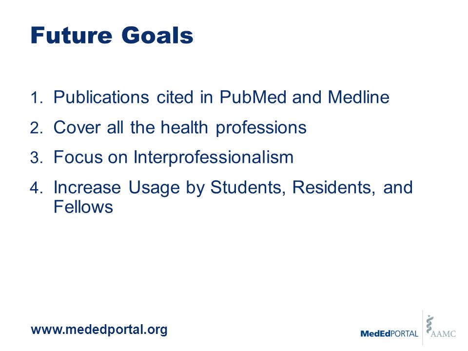 Future Goals 1. Publications cited in PubMed and Medline 2.