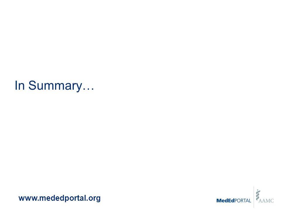In Summary… www.mededportal.org