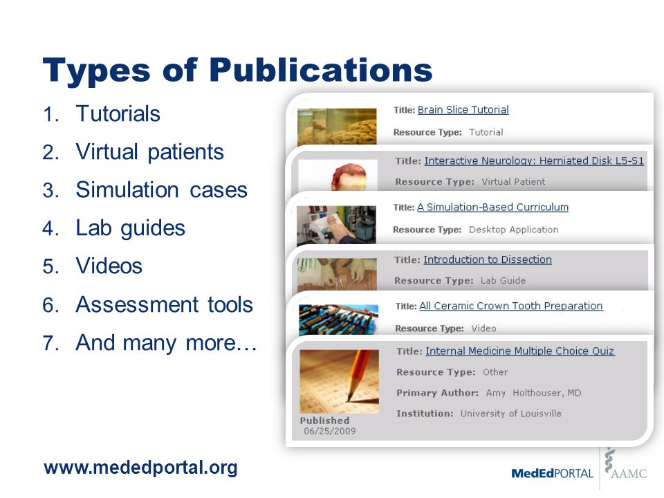 Types of Publications 1. Tutorials 2. Virtual patients 3. Simulation cases 4. Lab guides 5. Videos 6. Assessment tools 7. And many more… www.mededport