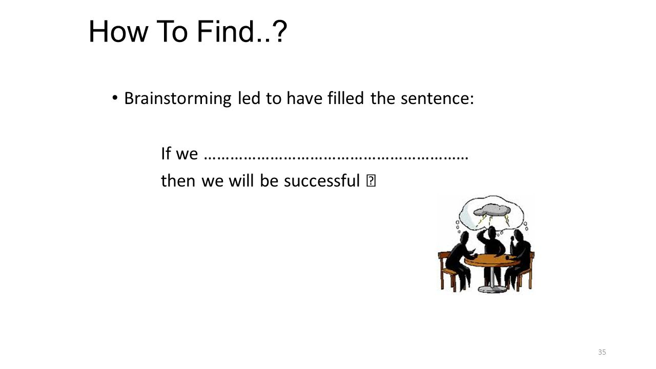 How To Find..? Brainstorming led to have filled the sentence: If we …………………………………………………… then we will be successful 35