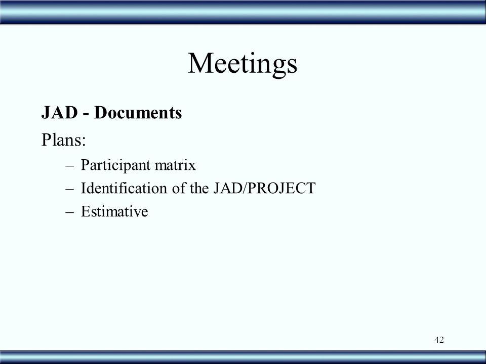 42 Meetings JAD - Documents Plans: –Participant matrix –Identification of the JAD/PROJECT –Estimative