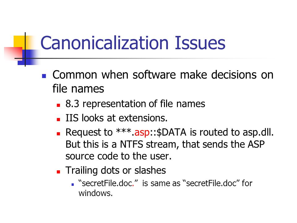 Canonicalization Issues Common when software make decisions on file names 8.3 representation of file names IIS looks at extensions.
