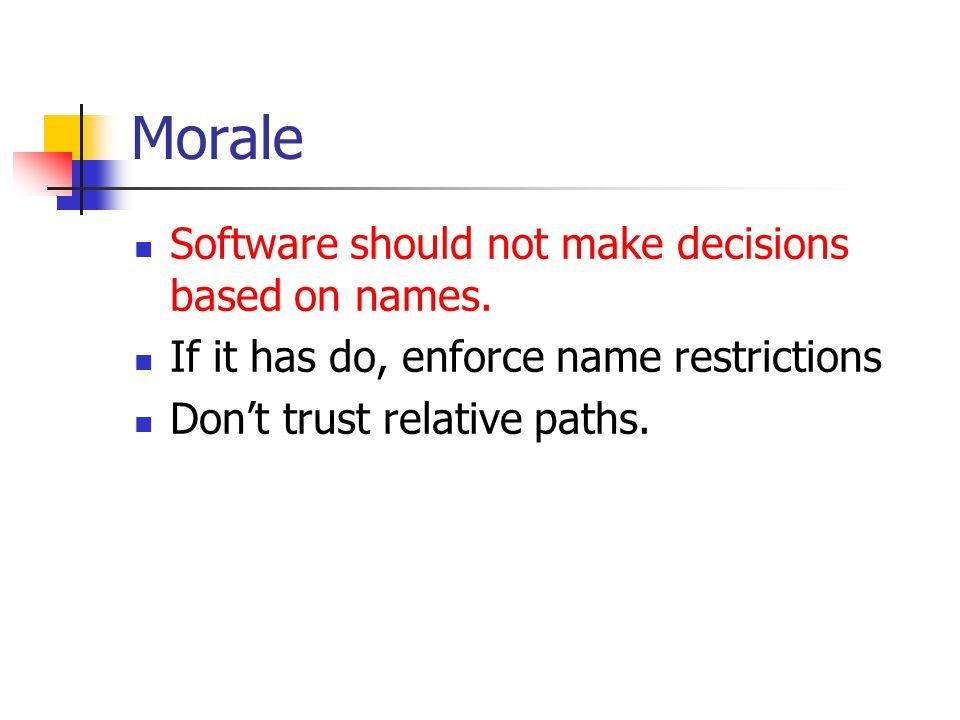 Morale Software should not make decisions based on names.