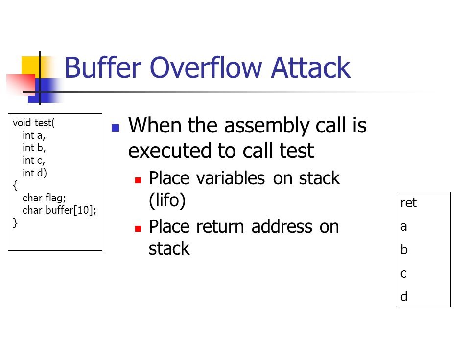 Buffer Overflow Attack When the assembly call is executed to call test Place variables on stack (lifo) Place return address on stack ret a b c d void test( int a, int b, int c, int d) { char flag; char buffer[10]; }
