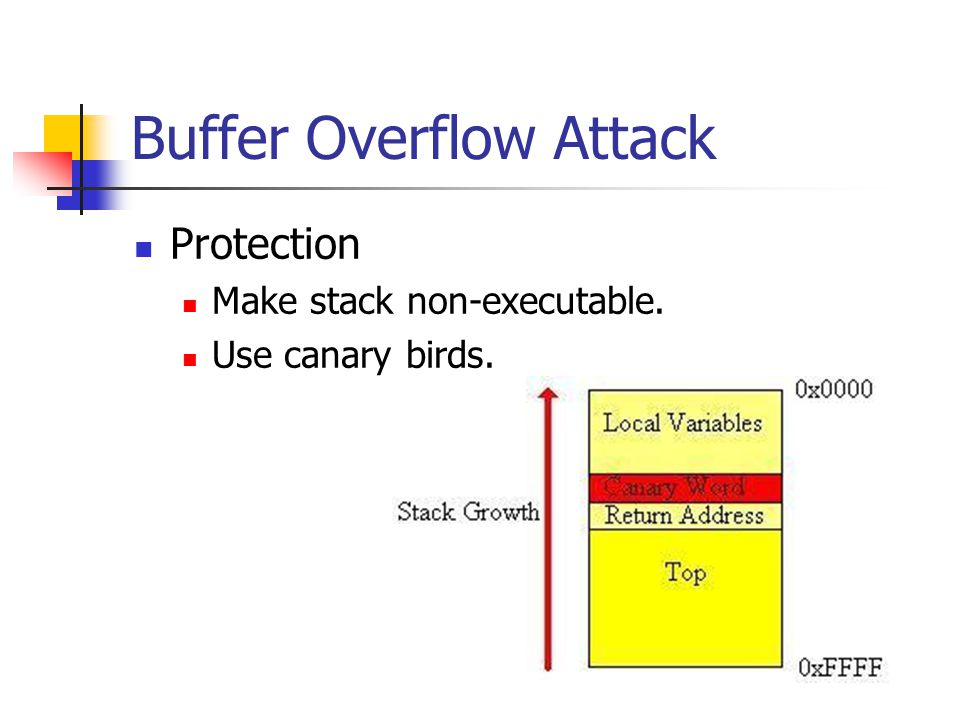 Buffer Overflow Attack Protection Make stack non-executable. Use canary birds.