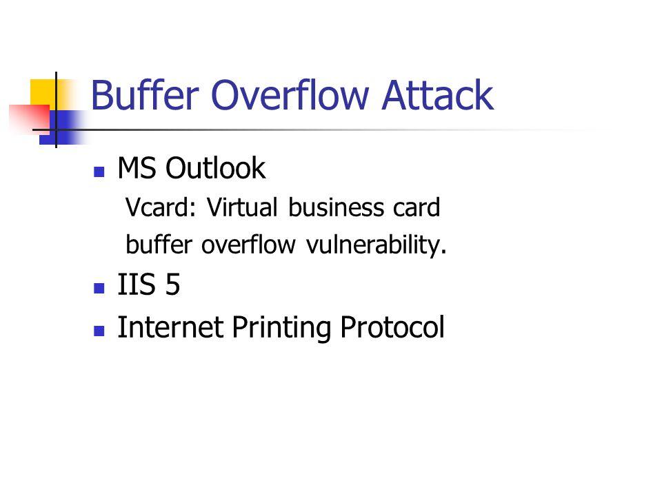 Buffer Overflow Attack MS Outlook Vcard: Virtual business card buffer overflow vulnerability.