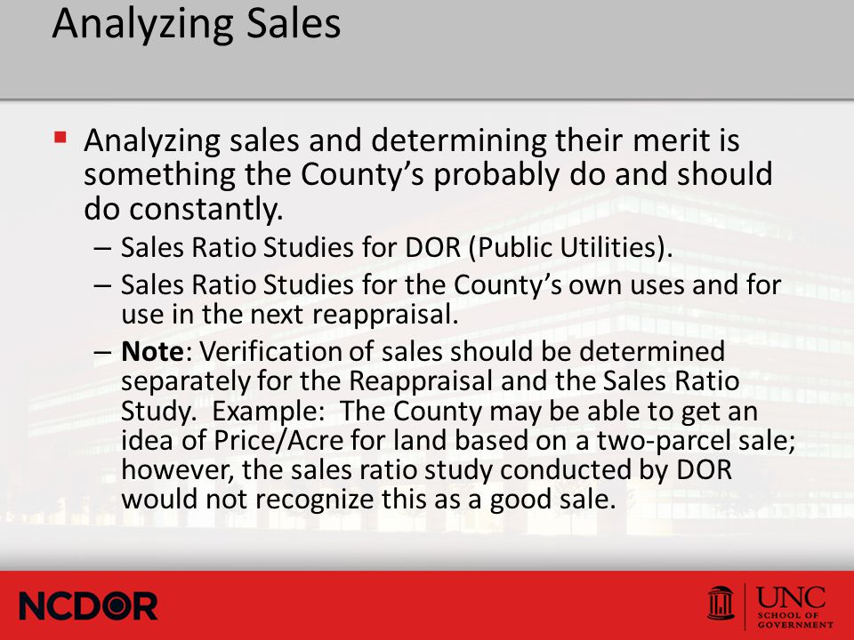 Analyzing Sales  Analyzing sales and determining their merit is something the County's probably do and should do constantly.