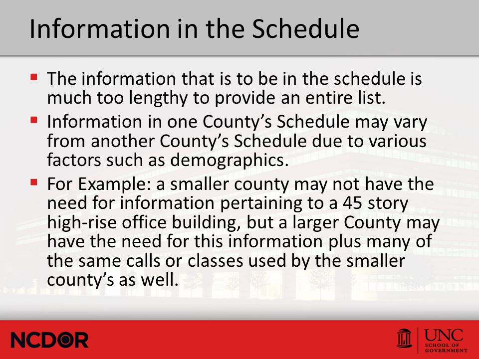 Information in the Schedule  The information that is to be in the schedule is much too lengthy to provide an entire list.