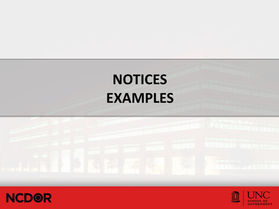 NOTICES EXAMPLES