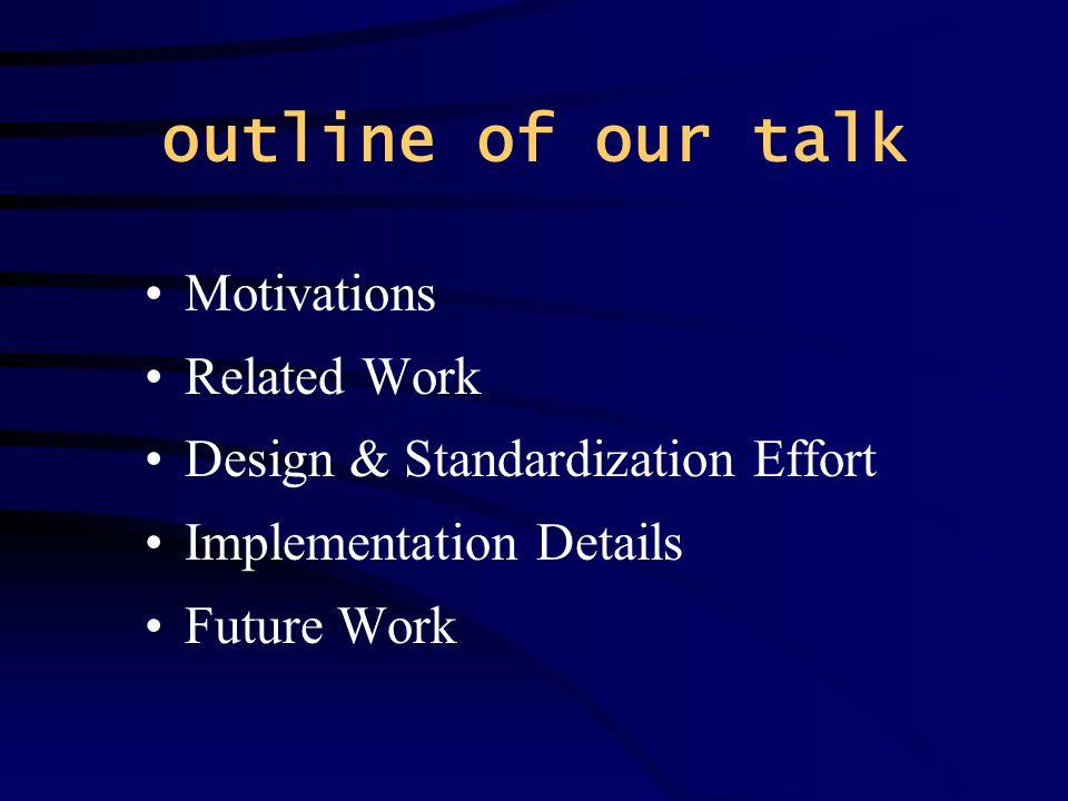 outline of our talk Motivations Related Work Design & Standardization Effort Implementation Details Future Work