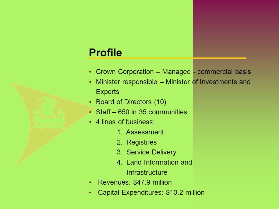 Crown Corporation – Managed - commercial basis Minister responsible – Minister of Investments and Exports Board of Directors (10) Staff – 650 in 35 co