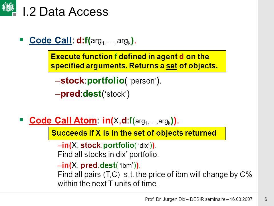 6 Prof. Dr. Jürgen Dix – DESIR seminaire – 16.03.2007  Code Call: d:f( arg 1,…,arg k ).