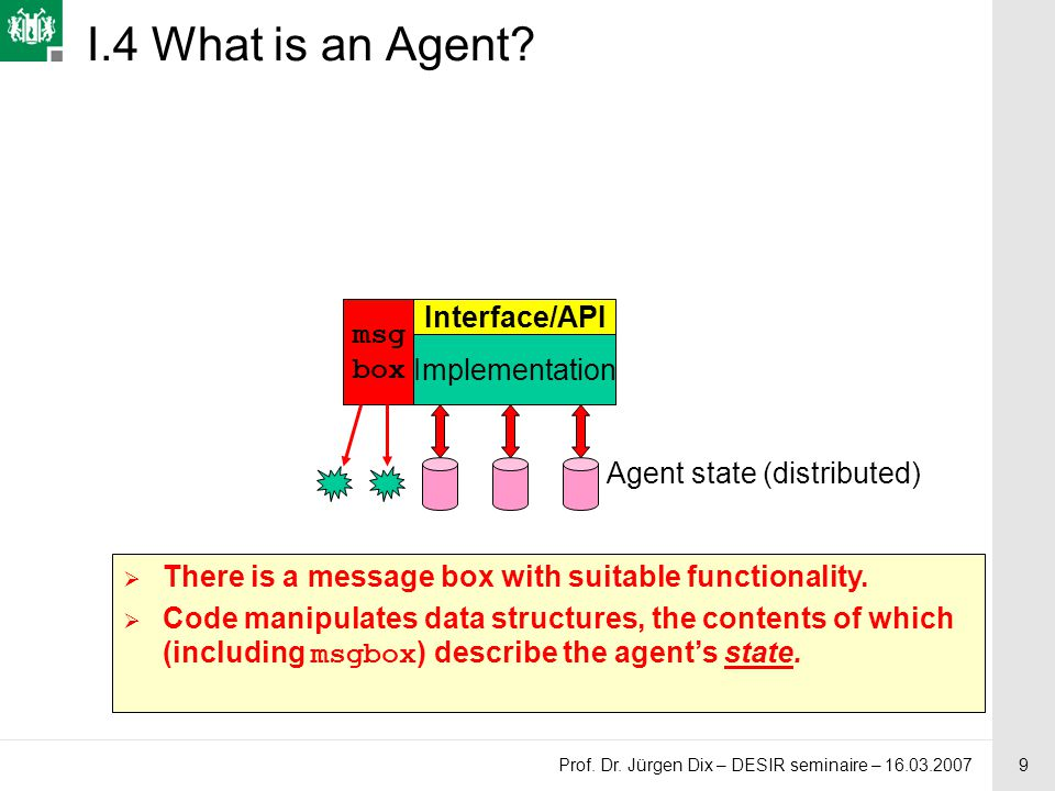 9 Prof. Dr. Jürgen Dix – DESIR seminaire – 16.03.2007 I.4 What is an Agent? msg box Agent state (distributed) Implementation Interface/API  There is