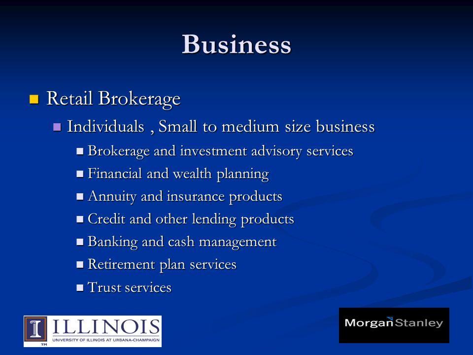 Business Retail Brokerage Retail Brokerage Individuals, Small to medium size business Individuals, Small to medium size business Brokerage and investm