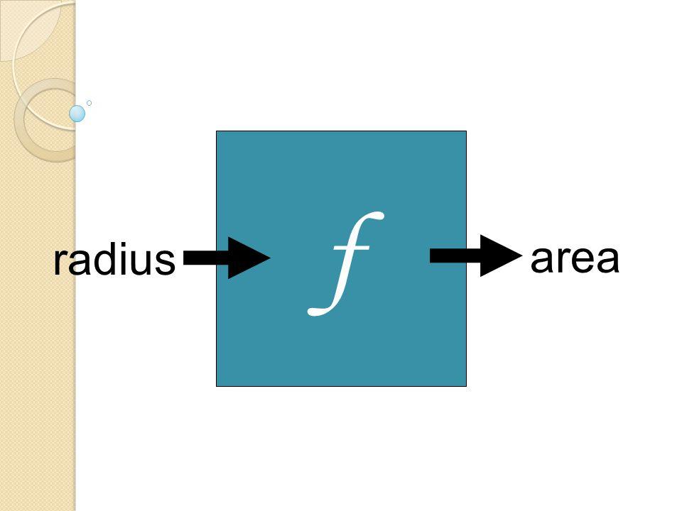 f radius area