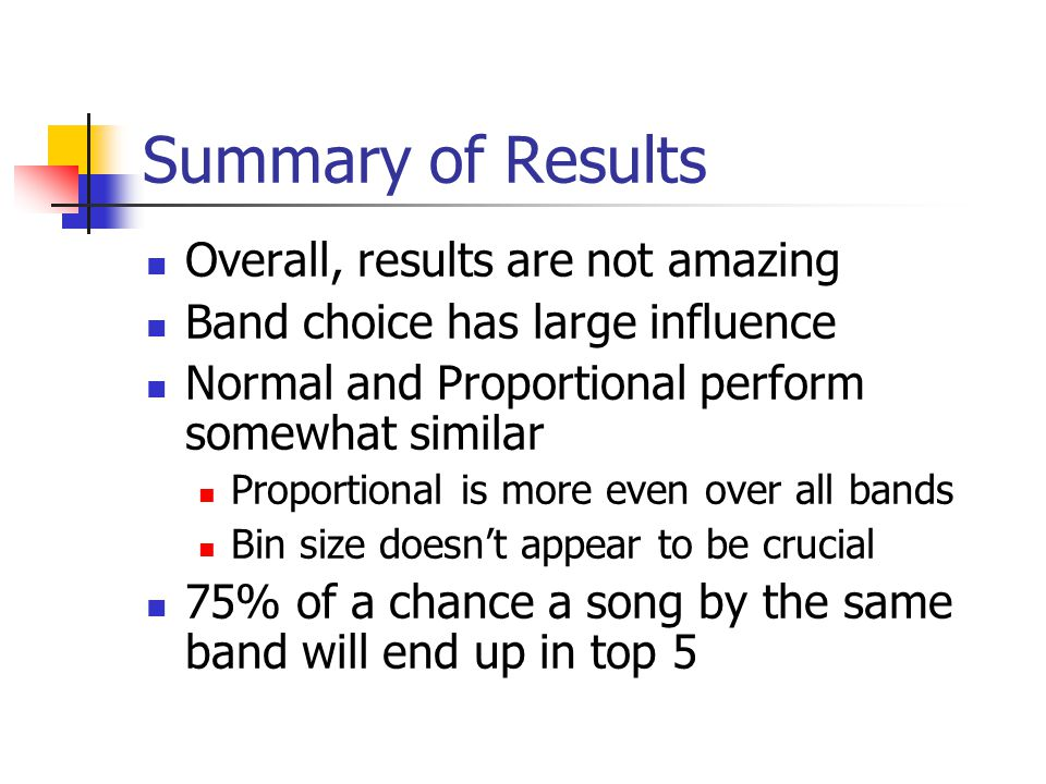 Summary of Results Overall, results are not amazing Band choice has large influence Normal and Proportional perform somewhat similar Proportional is more even over all bands Bin size doesn't appear to be crucial 75% of a chance a song by the same band will end up in top 5