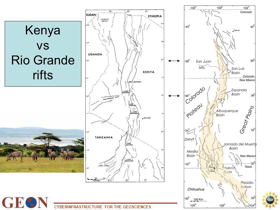 CYBERINFRASTRUCTURE FOR THE GEOSCIENCES www.geongrid.org Kenya vs Rio Grande rifts