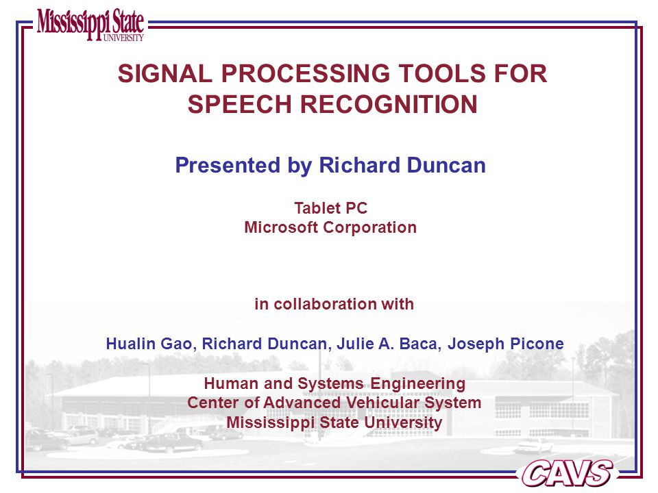 Page 21 of 38 Signal Processing Tools for Speech Recognition FRONT-END CONFIGURATION TOOL
