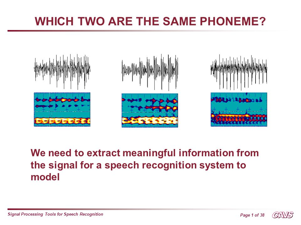 Page 2 of 38 Signal Processing Tools for Speech Recognition WHICH TWO ARE THE SAME PHONEME.