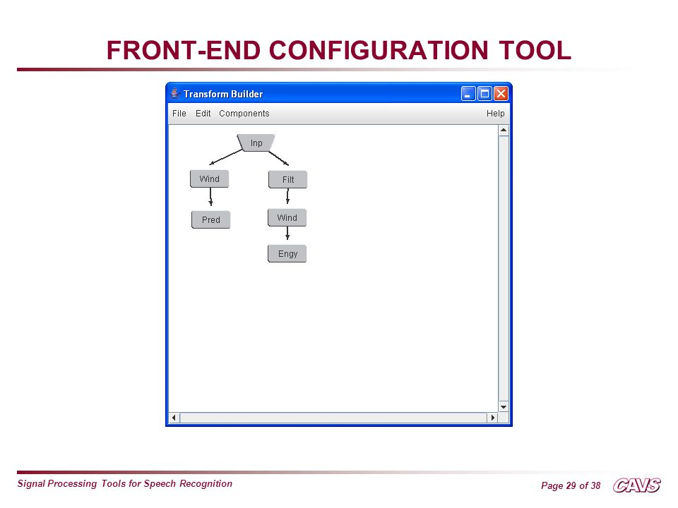 Page 29 of 38 Signal Processing Tools for Speech Recognition FRONT-END CONFIGURATION TOOL