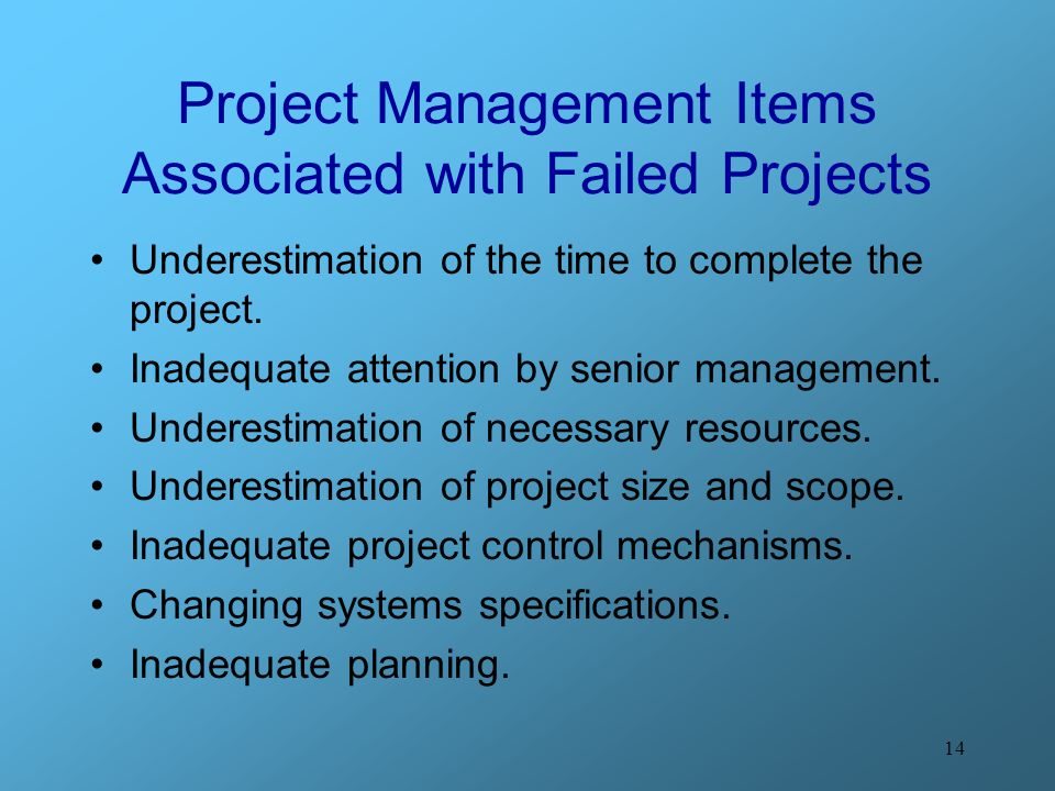 14 Project Management Items Associated with Failed Projects Underestimation of the time to complete the project.