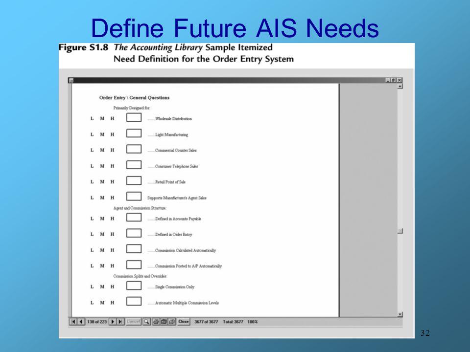 32 Define Future AIS Needs
