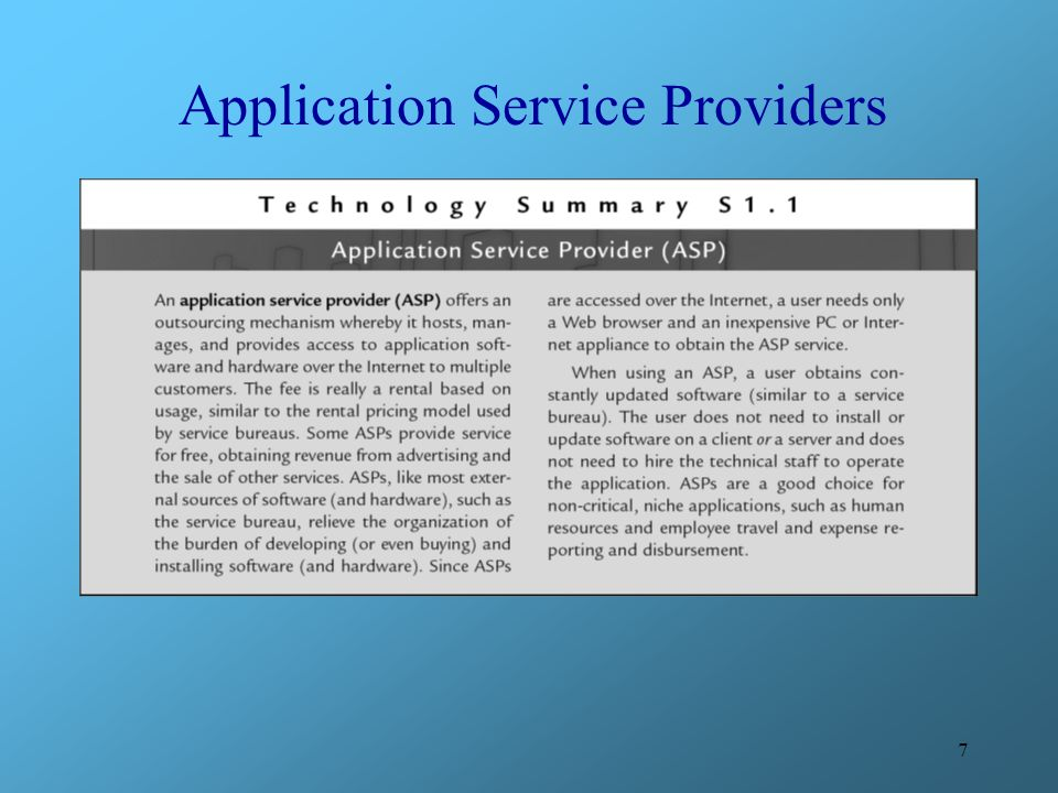 7 Application Service Providers