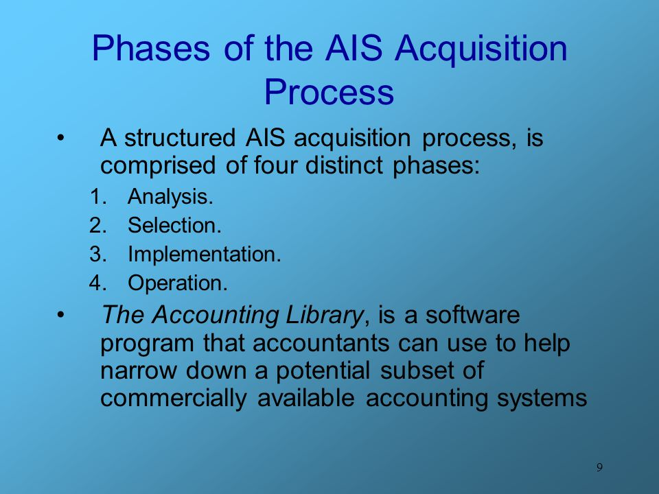 10 The AIS Acquisition Cycle