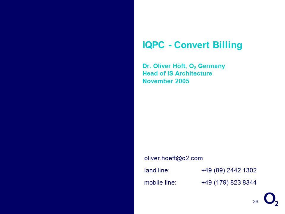 26 IQPC - Convert Billing Dr.