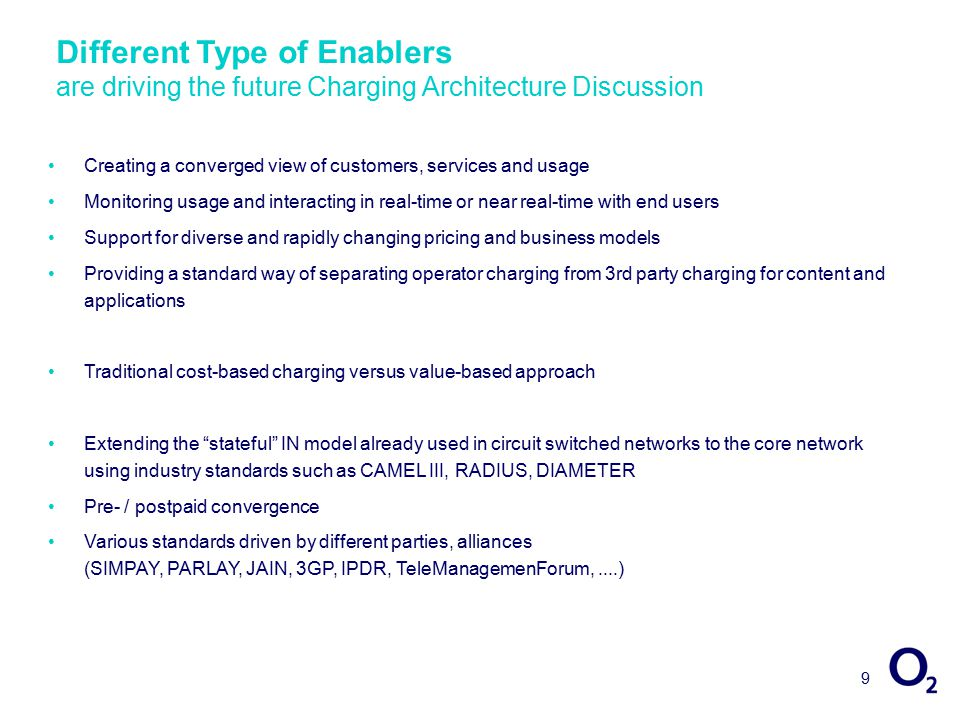 9 Different Type of Enablers are driving the future Charging Architecture Discussion Creating a converged view of customers, services and usage Monitoring usage and interacting in real-time or near real-time with end users Support for diverse and rapidly changing pricing and business models Providing a standard way of separating operator charging from 3rd party charging for content and applications Traditional cost-based charging versus value-based approach Extending the stateful IN model already used in circuit switched networks to the core network using industry standards such as CAMEL III, RADIUS, DIAMETER Pre- / postpaid convergence Various standards driven by different parties, alliances (SIMPAY, PARLAY, JAIN, 3GP, IPDR, TeleManagemenForum,....)