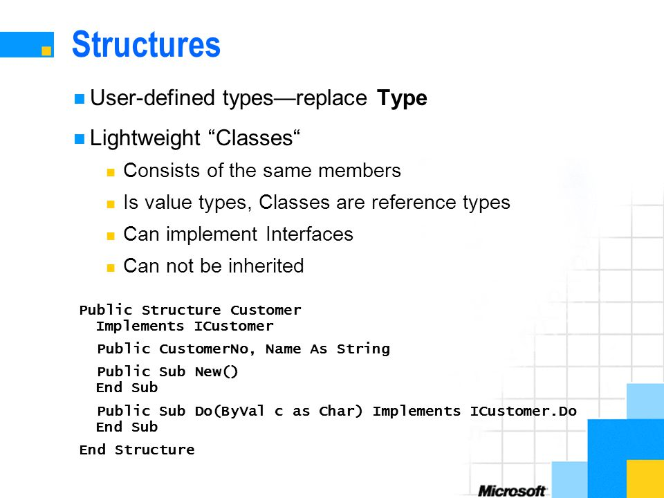 Structures User-defined types—replace Type Lightweight Classes Consists of the same members Is value types, Classes are reference types Can implement Interfaces Can not be inherited Public Structure Customer Implements ICustomer Public CustomerNo, Name As String Public Sub New() End Sub Public Sub Do(ByVal c as Char) Implements ICustomer.Do End Sub End Structure