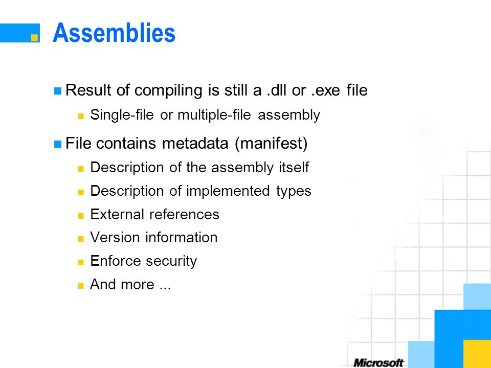 Assemblies Result of compiling is still a.dll or.exe file Single-file or multiple-file assembly File contains metadata (manifest) Description of the assembly itself Description of implemented types External references Version information Enforce security And more...