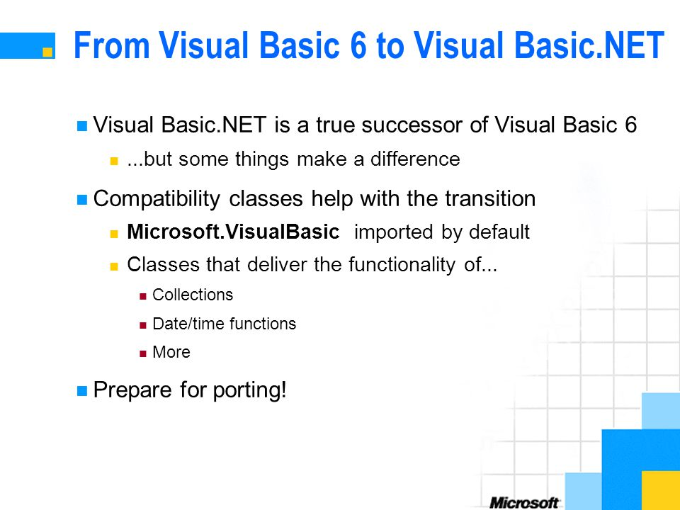 From Visual Basic 6 to Visual Basic.NET Visual Basic.NET is a true successor of Visual Basic 6...but some things make a difference Compatibility classes help with the transition Microsoft.VisualBasic imported by default Classes that deliver the functionality of...