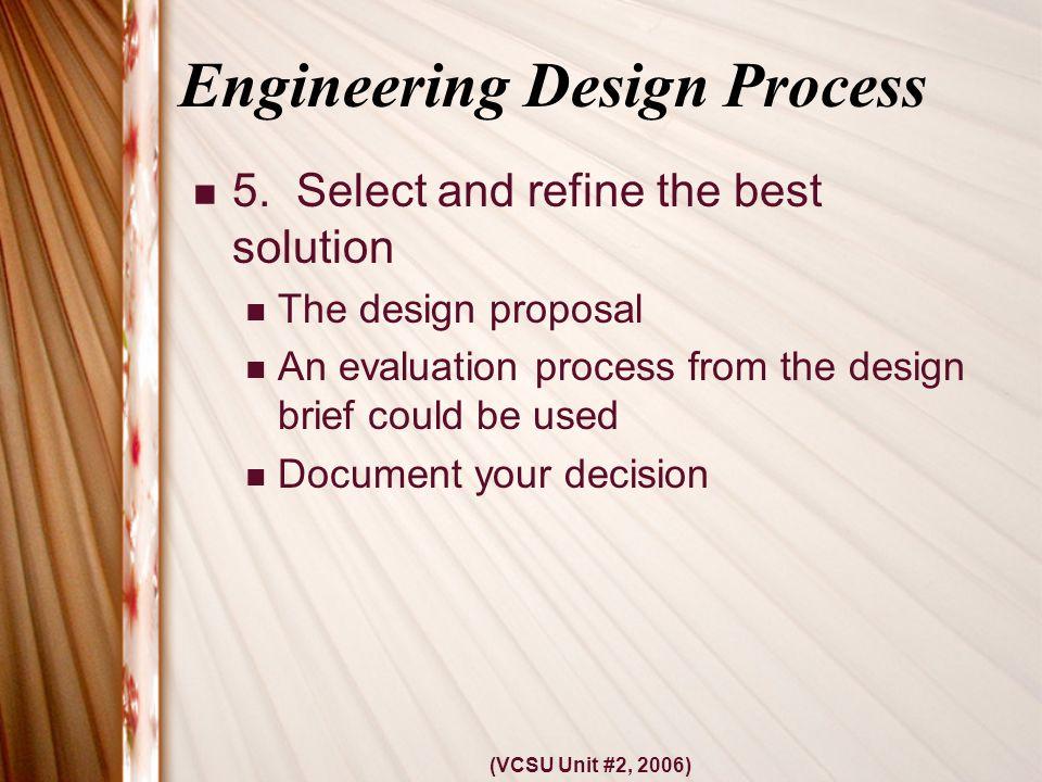 (VCSU Unit #2, 2006) Engineering Design Process 5.